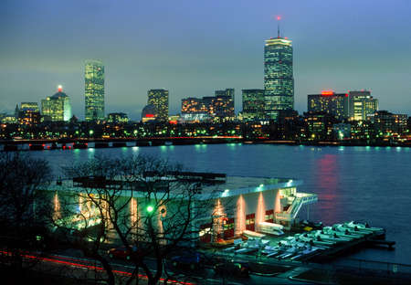 MIT's Pierce Boathouse and Boston's Back Bay photo