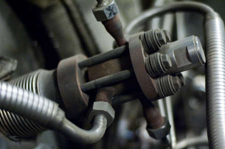 Steel valve on a large piece of industrial machinery Stock Photo - 16123337