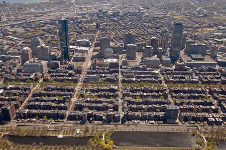 brownstone: Bostons Back Bay area and downtown from the air