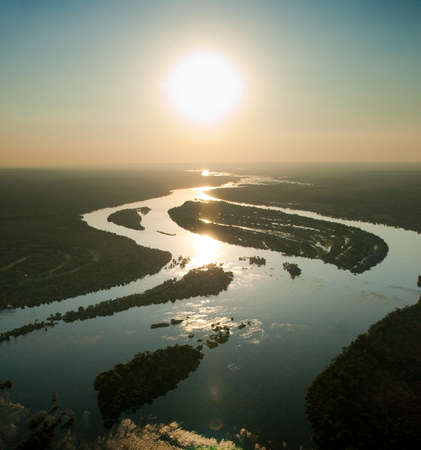 Zambezi River seen from the air, Zambia photo