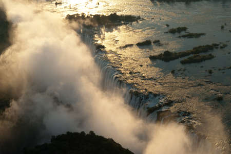 Victoria Falls seen from the air, ZambiaZimbabwe Stock Photo