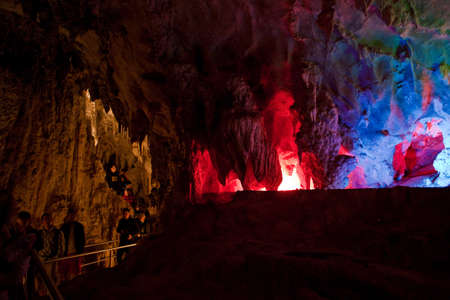 chiefly: Colored lights in Chiefly Cave, Jenolan Caves, Australia