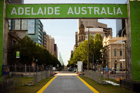 ADELAIDE AUSTRALIA banner and downtown Adelaide