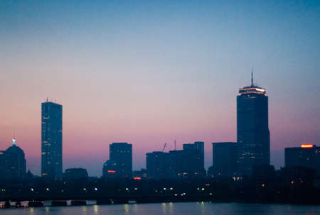 Skyline of Boston's Back Bay area seen at dawn photo