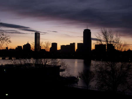 Skyline of Bostons Back Bay area seen at dawn photo