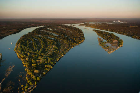 zambia: Aerial view of the Zambezi river with riverboats
