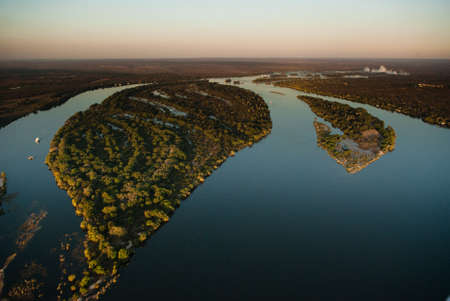 Aerial view of the Zambezi river with riverboats photo