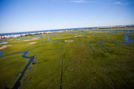 Aerial view of green field and river Stock Photo
