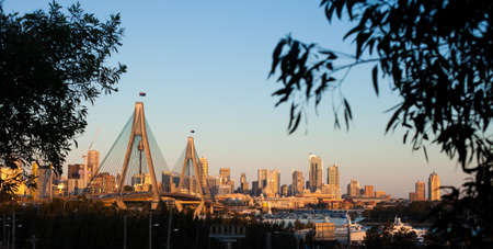 Anzac Bridge and Sydney skyline on a clear day