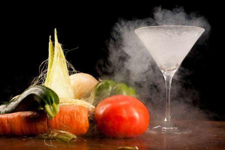 nitrogen: Still life of vegetables and liquid nitrogen