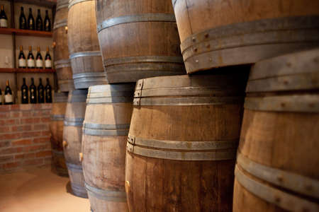 Barrels of South African wine stacked for sale Stock Photo