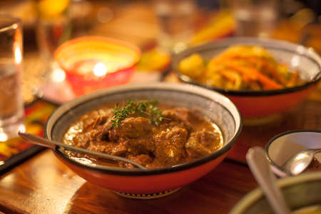 Traditional African lamb chunks ready to eat photo