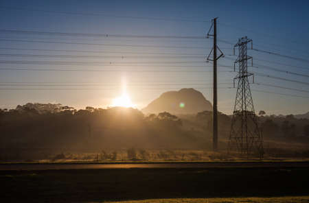transmission line: Fields and power lines near Cape Town, South Africa