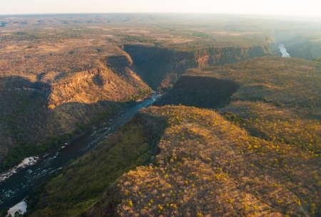 Zambezi river gorge from the air, ZambiaZimbabwe photo