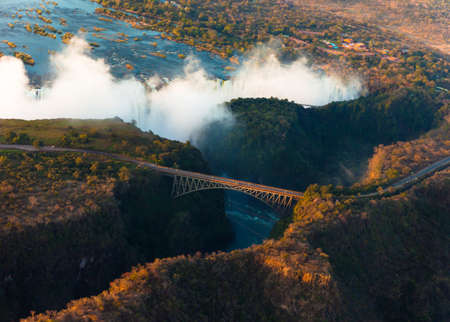 zambia: Victoria Falls from the air in the afternoon