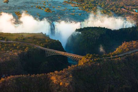 zambezi: Victoria Falls from the air in the afternoon