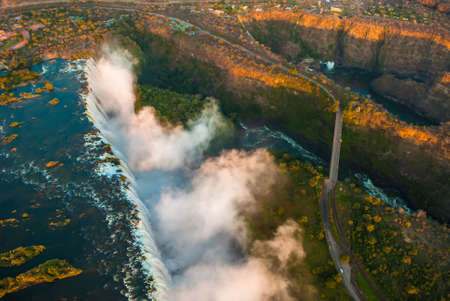 victoria park: Victoria Falls seen from the air, ZambiaZimbabwe Stock Photo