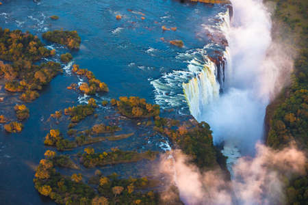 Victoria Falls from the air in the afternoon photo