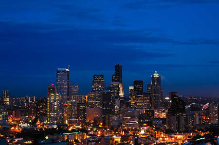 The Seattle skyline at dusk seen from up high photo