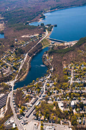 Aerial view of Clinton, MA and the Wachusett Dam Stock Photo - 16343655