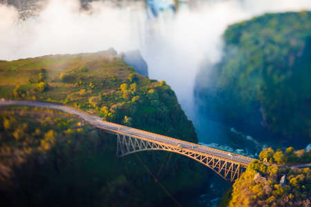zambia: Bridge at Victoria Falls, a bungee-jumping hot spot