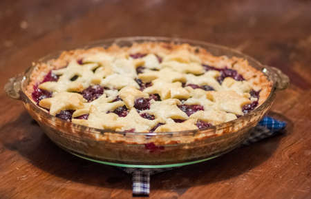 Blackberry Pie Served in a Dish Stock Photo