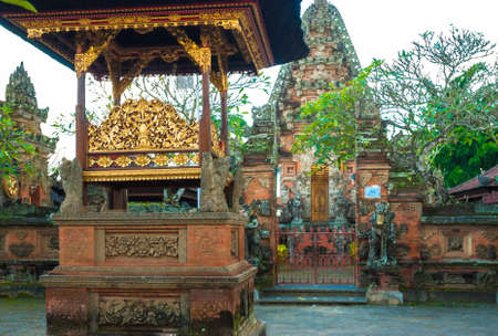 Ornate Balinese Hindu shrines and temple complex photo