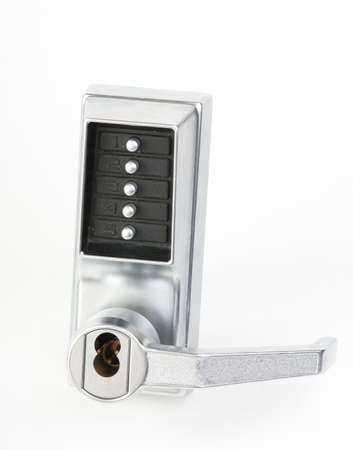 Mechanical keypad lock with five buttons in studio