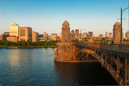 Bostons Longfellow Bridge and Beacon Hill neighborhood