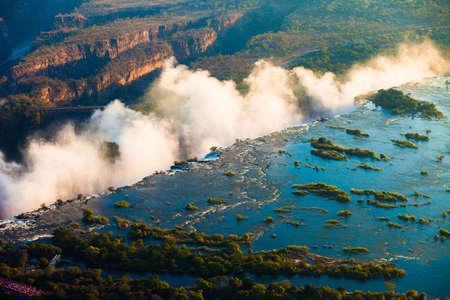 zambezi: Victoria Falls seen from the air, ZambiaZimbabwe Stock Photo