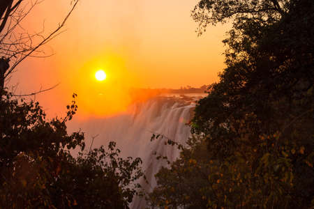 Zambezi River and Victoria Falls seen from Livingstone, Zambia photo