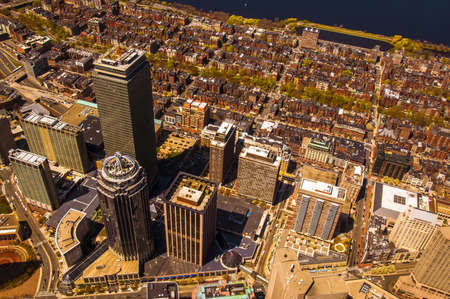 boston cityscape: Bostons Back Bay area and downtown from the air