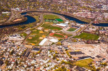 harvard university: Harvard University stadium seen from the air Stock Photo