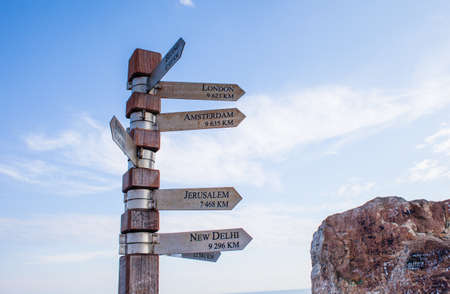 Signpost showing directions to cities, Cape Point photo