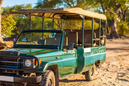lodges: Canvas-roofed safari vehicles ready for a game drive