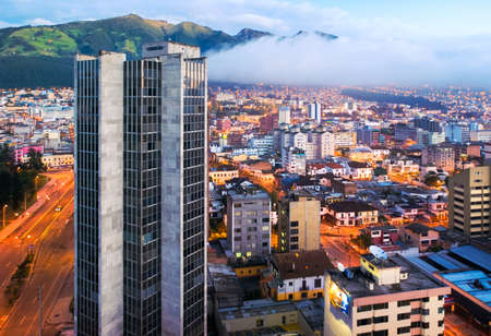Aerial view of downtown Quito, Ecuador at dawn