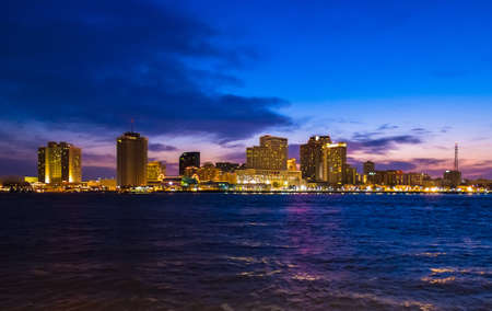 The New Orleans, Louisiana city skyline at dusk