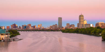 View of Boston, Cambridge, Harvard Boathouse, Charles River photo