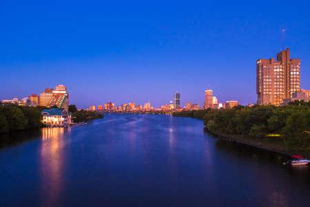 View of Boston, Cambridge, Harvard Boathouse, Charles River