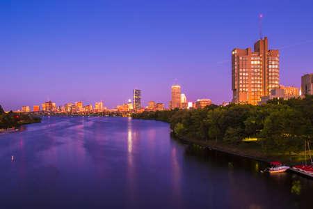 harvard university: View of Boston, Cambridge, Harvard Boathouse, Charles River