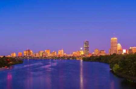 View of Boston, Cambridge, Harvard Boathouse, Charles River photo