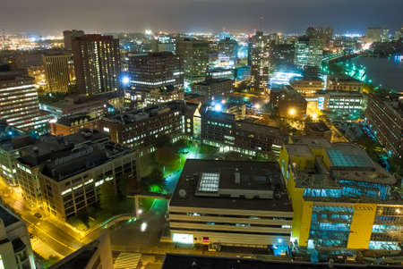 Aerial view of Cambridge, Massachusetts at night photo