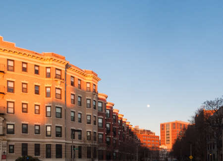 brownstone: Boston Back Bay-style brownstone townhouses in Brookline Stock Photo