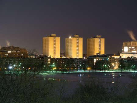 college dorm: Boston Universitys Warren Towers dormitory at dusk