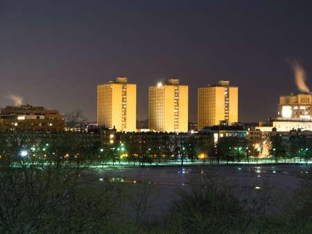 dormitories: Boston Universitys Warren Towers dormitory at dusk