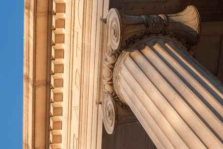 detailed view: Detailed view of Greek style architectural column Stock Photo