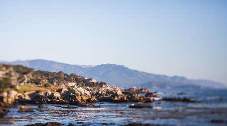 tilt and shift: Rocks off the Pacific Coast Highway, tilt shift effect Stock Photo
