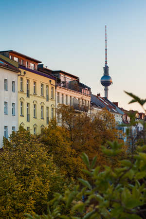 apartment tower old town: Apartments in Berlins Prenzlauer Berg neighborhood with Fernsehturm