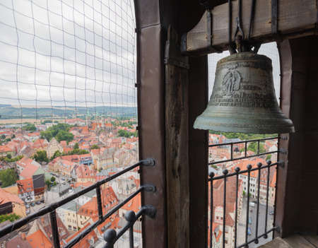 church bell: Church bell in the steeple of St Wenceslas church, Naumburg (Saale), Germany