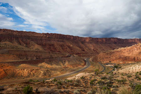 moab: View over US 191 and Moab Canyon Pathway, Arches National Park, Utah